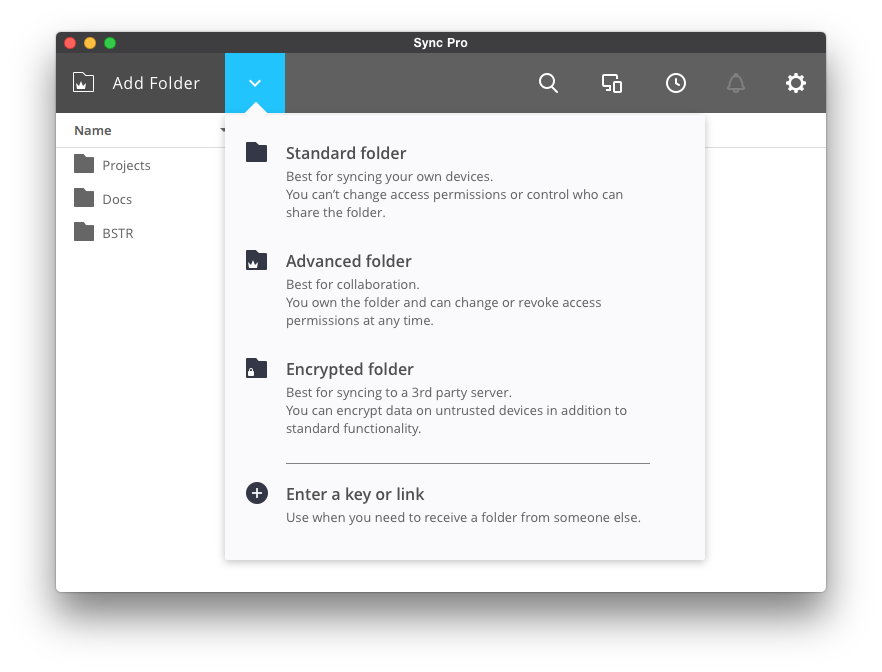 Add Folder View (All Platforms) – Sync
